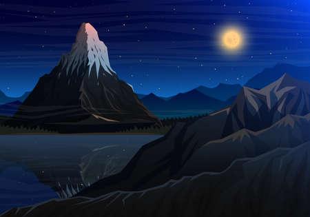 Night panoramic view of peak