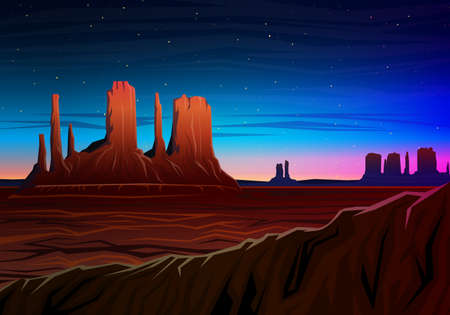 Mountain and Monument Valley, Night panoramic view, peaks, landscape early in daylight. travel or camping, climbing, vector illustration for website or banner. Outdoor hill tops, Hunts Mesa, Arizona. Ilustração