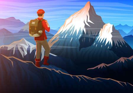 Montaña everest con turista, noche vista panorámica de picos, paisaje temprano en la luz del día. viajar o acampar, escalar. Colinas al aire libre en el parque nacional, valle de Khumbu, Nepal Ilustración de vector
