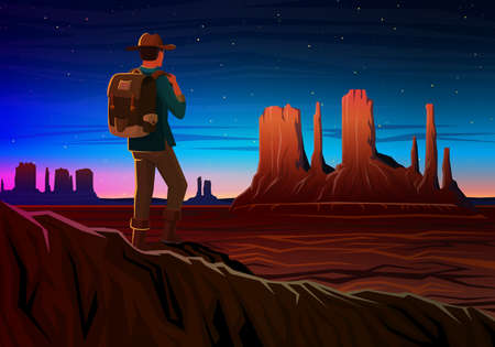 Mountain and Monument Valley with tourist, Night panoramic view, landscape early in daylight. travel camping, climbing, vector illustration. website or banner. Outdoor hill tops, Hunts Mesa, Arizona.