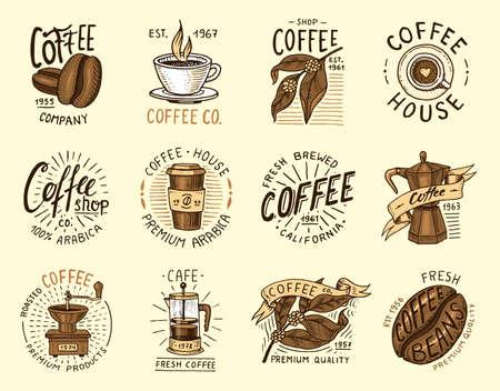 Set of coffee logos. modern vintage elements for the shop menu. Vector illustration. Stock Vector - 95560796