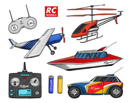 RC transport, remote control models. toys design elements for emblems. Vector illustration.