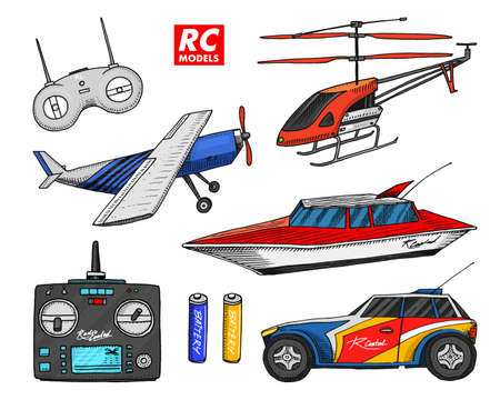 RC transport, remote control models. toys design elements for emblems. Vector illustration.