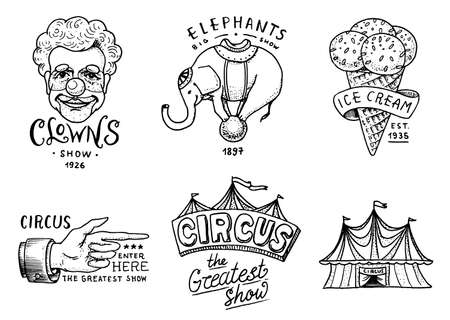 Carnival Circus badge. Banner or poster with animals. clown and elephant, ice cream and focus, magic in the tent. festival with actors. engraved emblem hand drawn. entertainment, theater and marquee