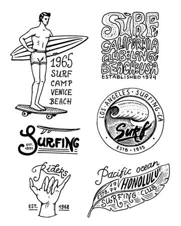 Surf badge and wave, palm tree and ocean. tropics and california. man on the surfboard, summer on the beach and the sea. engraved emblem hand drawn. Banner or poster. sports in Hawaii