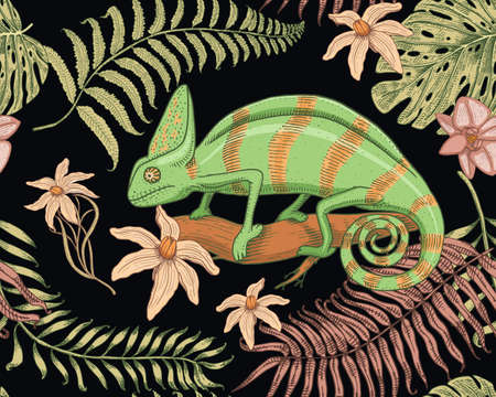Chameleon Lizard, tropical flowers, seamless pattern. American green reptile or snake, herbivorous. vector illustration for book or pet store, zoo. engraved hand drawn in old sketch