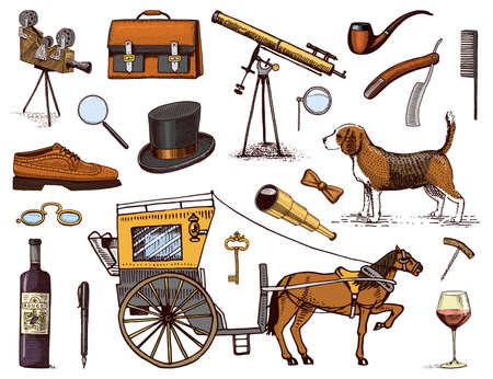 Gentleman accessories hand drawn set. Victorian era. binoculars and camera, briefcase, cufflinks, pouch, ring, sunglasses, carriage with horse, wrist watch, brogues cigars shaving brush dog beagle Stock Illustratie