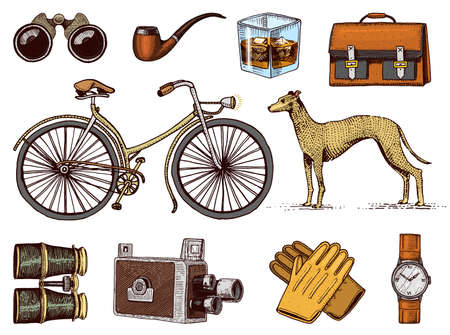 Gentleman accessories hand drawn set. Victorian era. Binoculars and camera, bike or bicycle, briefcase, wrist watch, brogues, cigars, shaving brush, dog whippet