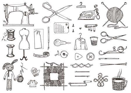 Ensemble d'outils de couture et de matériaux ou d'outils pour tricoter ou crocheter pour la couture. Matériel artisanal. Boutique de tailleur. fil et aiguille, mannequin. Gravé dessiné à la main réaliste dans le vieux croquis vintage Vecteurs