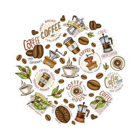 Set of coffee logos. modern vintage elements for the shop menu. Vector illustration. design decoration collection for badges. calligraphy style for frames, labels. engraved hand drawn in old sketch.