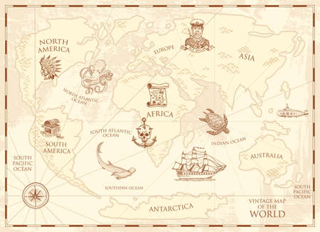 Vintage world map with compass and mountains.