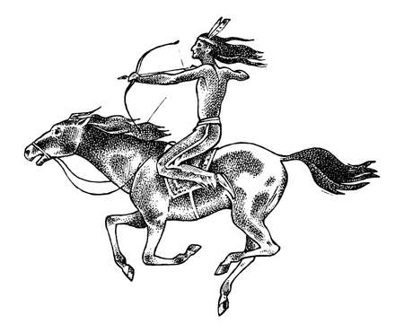 National American Indian riding horse with spear in hand. traditional man. engraved hand drawn in old sketch. 向量圖像