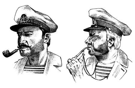 Boatswain with pipe. sea captain, marine old sailor or bluejacket, whistle and seaman with beard or men seafarer. travel by ship or boat. engraved hand drawn in old boho sketch.