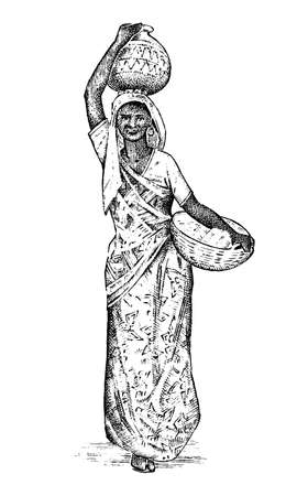 Hindu woman working in India. Lady carrying a basin on her head. engraved hand drawn, vintage style. Differences hindu ethnic people in traditional clothing. Vector illustration. Religious costumes.