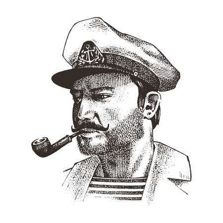 Boatswain with pipe. sea captain, marine old sailor or bluejacket, seaman with beard or men seafarer. travel by ship or boat. engraved hand drawn in old boho sketch.