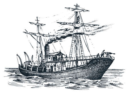Ship in the sea sketch vector illustration Ilustração