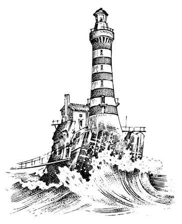 Vuurtoren en zee Mariene schets vectorillustratie Stock Illustratie