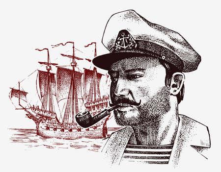 Sea captain and ship portrait vintage sketch