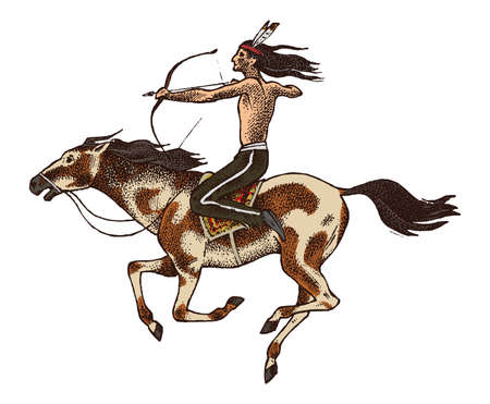 National American Indian riding horse with spear in hand. traditional man. engraved hand drawn in old sketch. Иллюстрация
