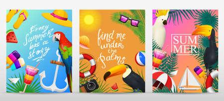 Nautische Sommerkarten. Meeresurlaub am Strand. Tropische Pflanzen und Vögel, Kamera und Anker, Milchshake, Liegestuhl, Tukan und Papagei. Plakat oder Hintergrund. Retro Reise. Weinlesefeiertag in Meer.