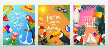 Nautical Summer cards. Marine vacation on the beach. Tropical plants and birds, camera and anchor, milkshake, deckchair, toucan and parrot. Poster or background. retro travel. Vintage holiday at sea. Illustration