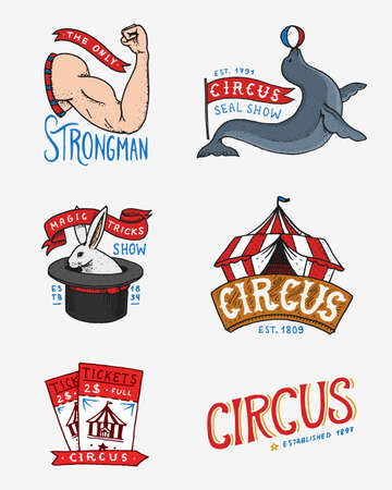 Carnival Circus badge. Banner or poster with animals. strongman and seal, hare in the hat, magic in the tent. festival with actors. engraved emblem hand drawn. theater and marquee Vector illustration. Иллюстрация