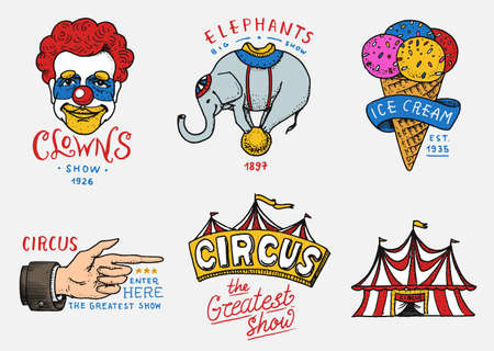 Carnival Circus badge. Banner or poster with animals. clown and elephant, ice cream and focus, magic in the tent. festival with actors. engraved emblem hand drawn. entertainment, theater and marquee. Иллюстрация