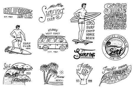 Brandungsausweis und Welle, Palme und Ozean. Tropen und Kalifornien. Mann auf dem Surfbrett, Sommer am Strand und am Meer. Graviertes Emblem von Hand gezeichnet. Banner oder Poster. Sport in Hawaii.