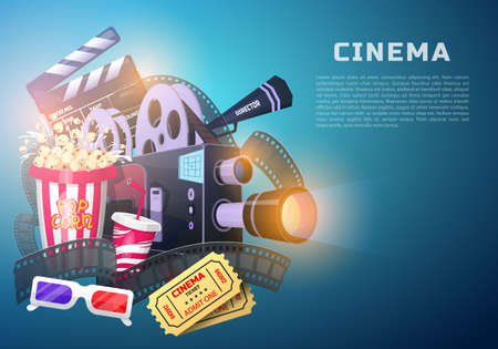 Movie elements set. Vintage cinema, entertainment and recreation with popcorn. Retro poster background. Clapperboard and camera, Filmmaking and video cassette, chair, film stock for Hollywood studio.