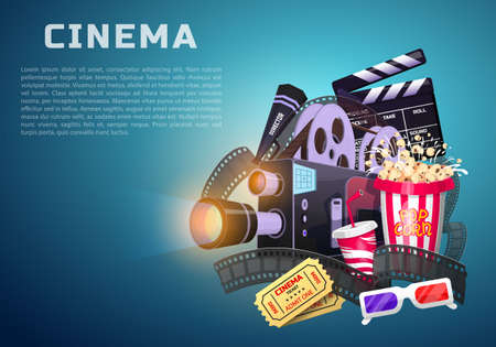 Movie elements set. Vintage cinema, entertainment and recreation with popcorn. Retro poster background. Clapperboard and camera, Film-making and video cassette, chair, film stock Vector illustration. Illustration