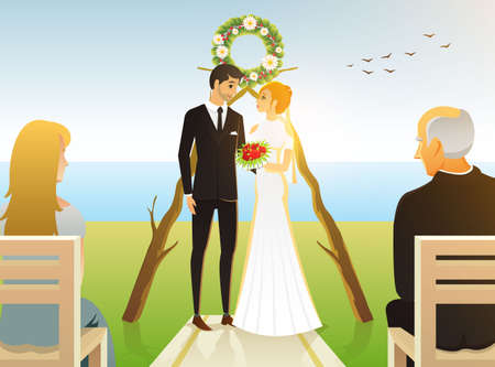 Bride And Groom. Wedding ceremony on the beach by the sea. Newlyweds, Valentines Day. vector illustration card, Love concept. Just married, summer landscape. Vintage Poster Banner. Rustic background. Banque d'images - 97691886