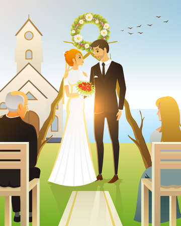Bride And Groom. Wedding ceremony on the beach by the sea. Newlyweds, couple at church door. vector illustration card, Love concept. Married, summer landscape. Vintage Poster Banner. Rustic background Illustration