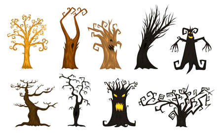Halloween trees, creepy or scary and frightening branches. fabulous mythical or fantastic monsters. wooden creatures in the forest Vector illustration. Vettoriali