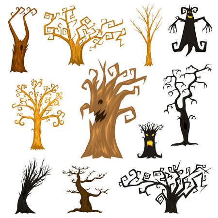 Halloween trees, creepy or scary and frightening branches. fabulous mythical or fantastic monsters. wooden creatures in the forest Vector illustration. Иллюстрация