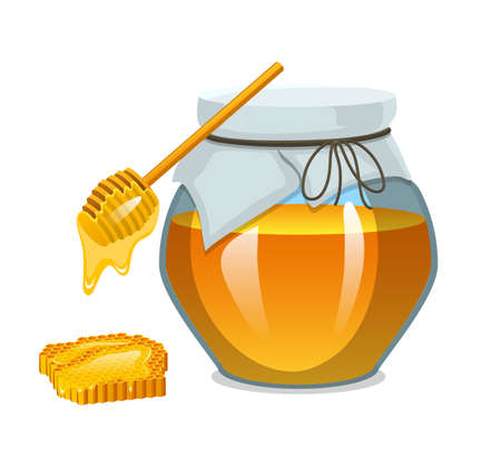 Honey in jar or natural farm product. food in honeycomb cooked by bees. Beekeeping and Health, organic sweets with chamomile, medicine illustration, agriculture.