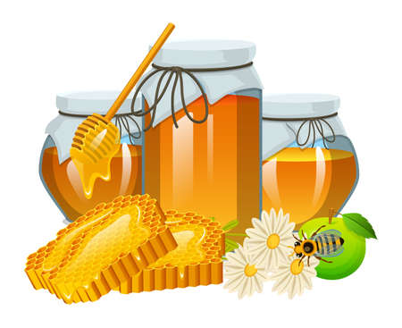 Honey set, bee and hive, spoon and honeycomb, hive and apiary. natural farm product. beekeeping or garden, flower chamomile, apple and jar. Health, organic sweets, medicine illustration, agriculture.