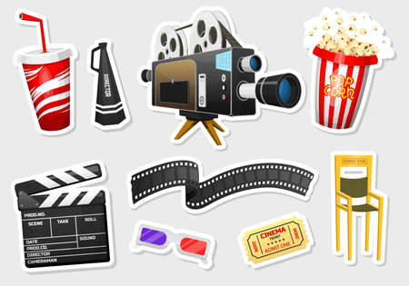 Movie stickers. Vintage cinema, entertainment and recreation with popcorn. Retro poster background. Clapperboard and camera, Filmmaking and video cassette, chair, film stock for Hollywood studio