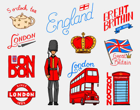 British, Crown and Queen, teapot with tea, bus and royal guard, London and the gentlemen. symbols, badges or stamps, emblems or architectural landmarks, United Kingdom. Country England label