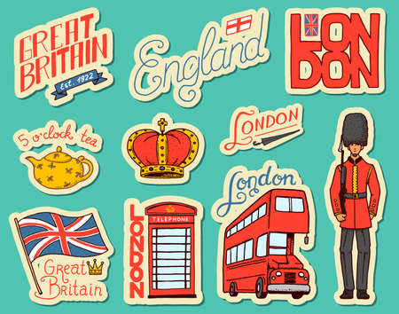 British vintage stickers, Crown and Queen, teapot with tea, bus and royal guard, London. Badges, stamps, emblems. United Kingdom. Country England label 80s-90s Comic Style. Engraved hand drawn sketch.