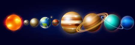 Planetas en el Sistema Solar. Luna y Sol, Mercurio y Tierra, Marte y Venus, Júpiter o Saturno y Plutón. Espacio astronómico de galaxias. estilo vintage para etiqueta Ilustración de vector