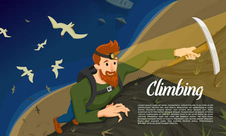 Young bearded hipster climber with Ice axe. Climbing a mountain at night. Activity Sport concept for poster. Tourist hiking background. Extreme risky adventure. Birds fly over the sea. Top view Illustration