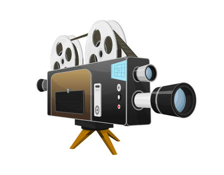 Vintage Movie camera, entertainment and recreation. Retro cinema. Filmmaking and video cassette for Hollywood studio. Film technology for actors and directors