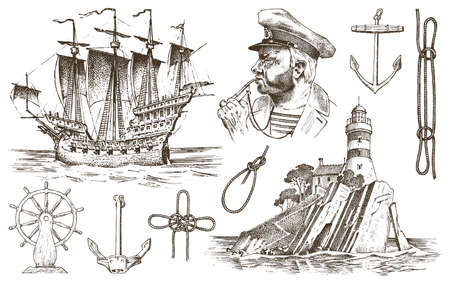 Nautical travel element vector illustration.