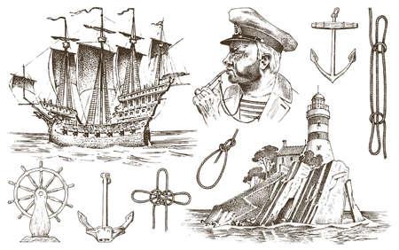 Nautical travel element vector illustration. Stock fotó - 99186329