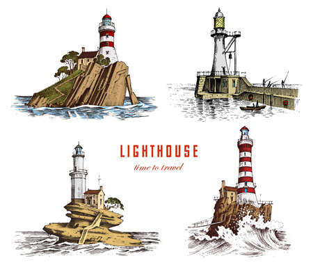 Lighthouse and sea marine sketch vector illustration.