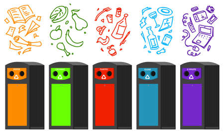 Recycling garbage elements. Bag or containers or cans for different trashes. Vectores