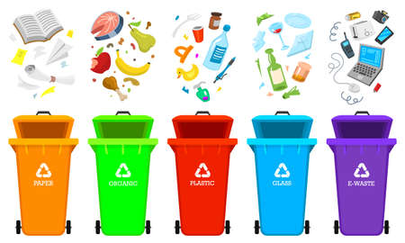 Recycling garbage elements. Bag or containers or cans for different trashes. Stock Illustratie