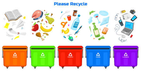 Recycling garbage elements. Bag or containers or cans for different trashes. Ilustração
