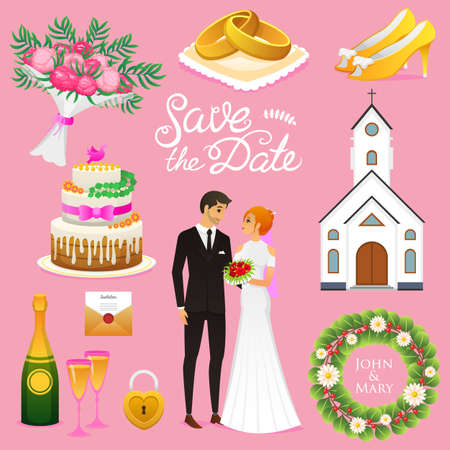 Bride And Groom Wedding ceremony Set. Newlyweds icons vector illustration.
