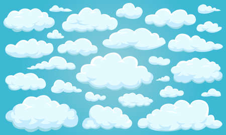 Set of clouds of different shapes in the sky for your web site design, UI, app. Meteorology and atmosphere in space.